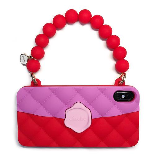 Candies|經典雙色珠鍊晚宴包(紅)-iPhone XS Max