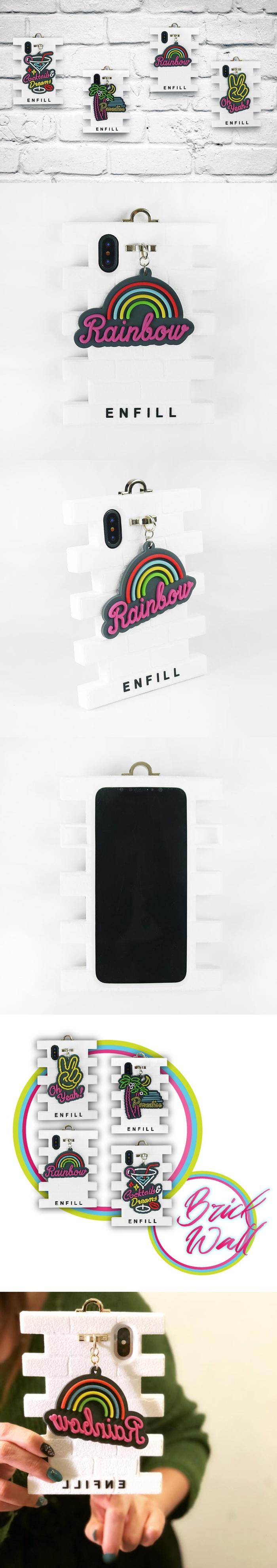 Candies|手拿系列磚牆手機殼(彩虹)-IPhone X/XS