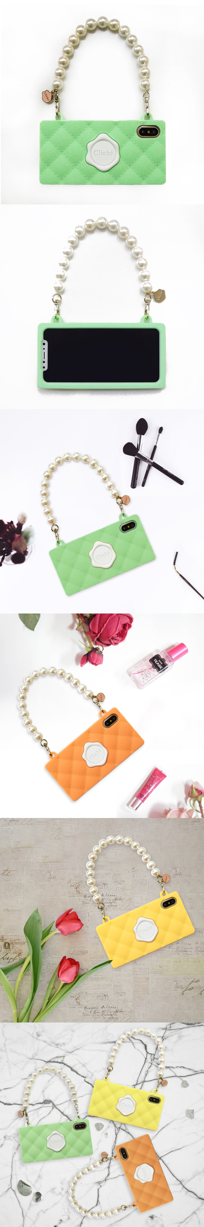 (複製)Candies|珍珠鍊 Cliche晚宴包(橘)-IPhone X/XS