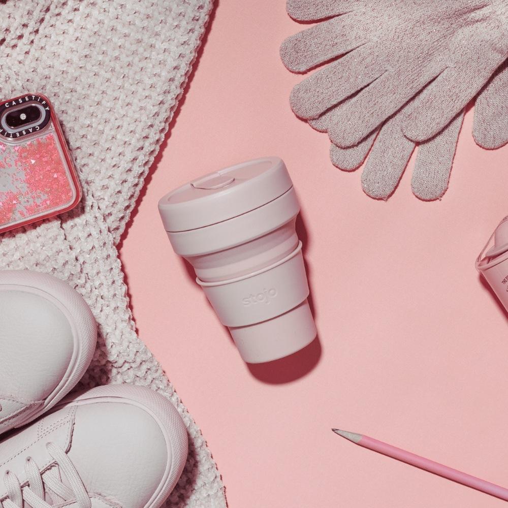 Stojo|折疊口袋杯 12oz - 撫子粉(布魯克林限定版)
