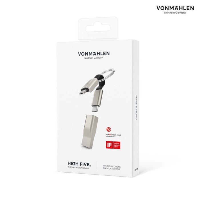 德國 VONMAEHLEN  HIGH FIVE多合一充電線鑰匙圈 (金屬銀)
