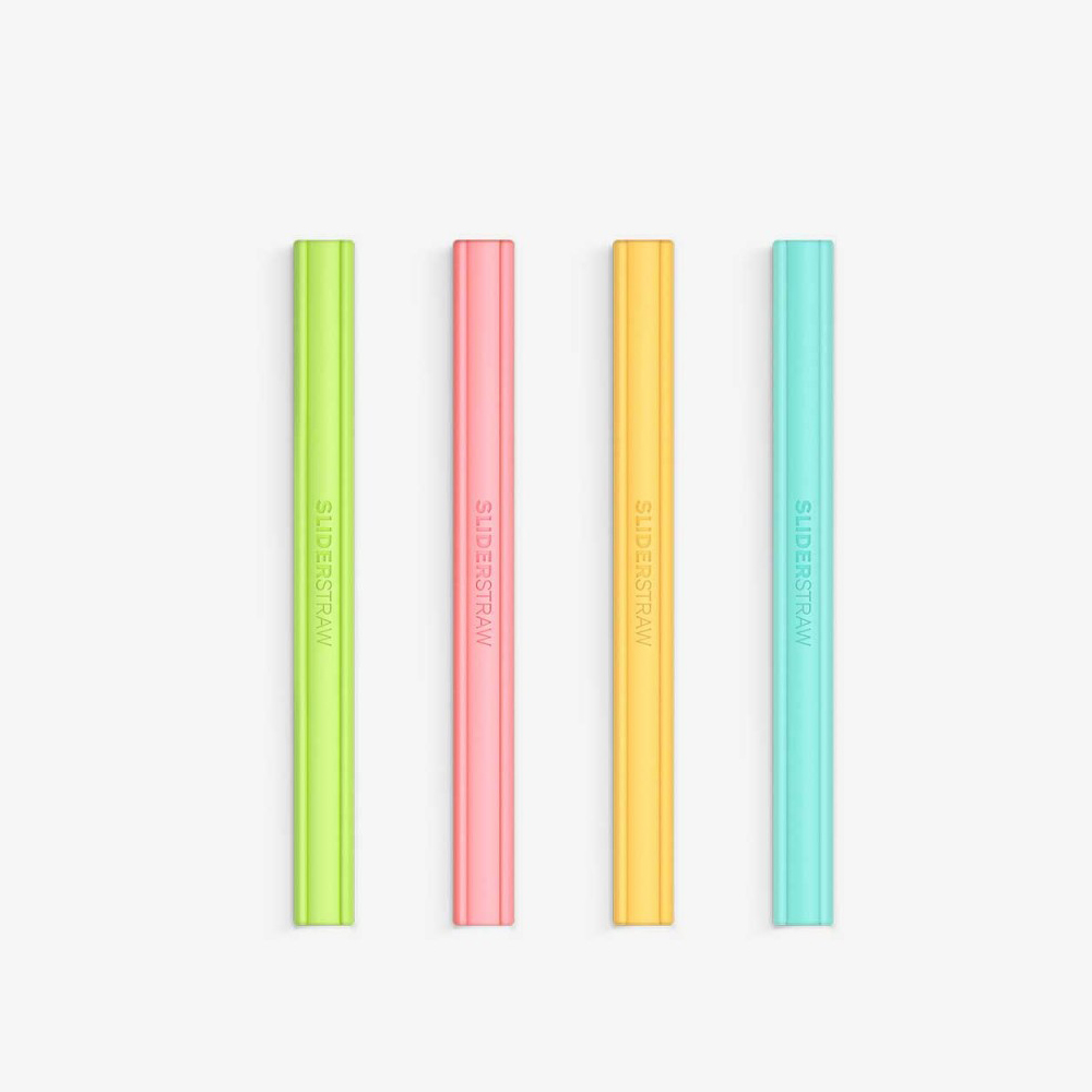 SLIDERSTRAW│可拆式環保吸管 矽膠4色組(15cm)