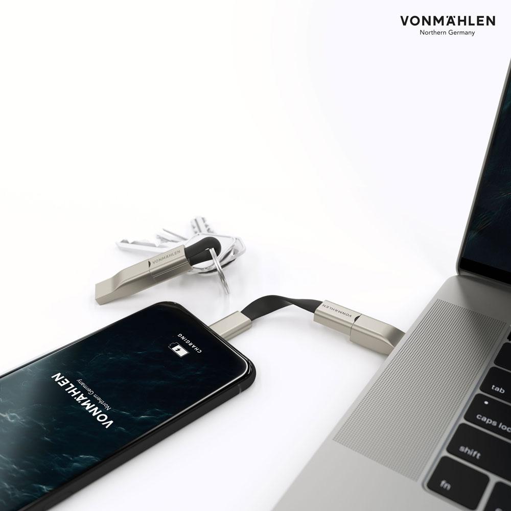 德國 VONMAEHLEN│HIGH FIVE C多合一充電傳輸線 鑰匙圈 (雙USB專用快充版)