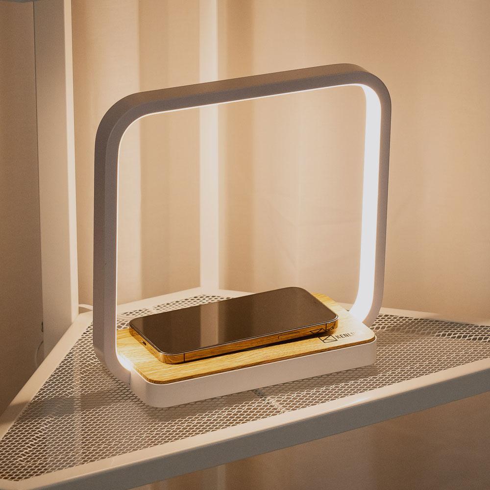 KENLUCK 觸控調光無線充電盤氣氛燈 QI 認證-淺橡木