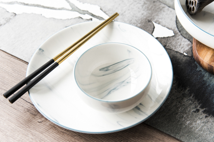 WAGA|歐式 時尚大理石雲紋 23.5cm 釉下彩西式陶瓷淺盤|單品