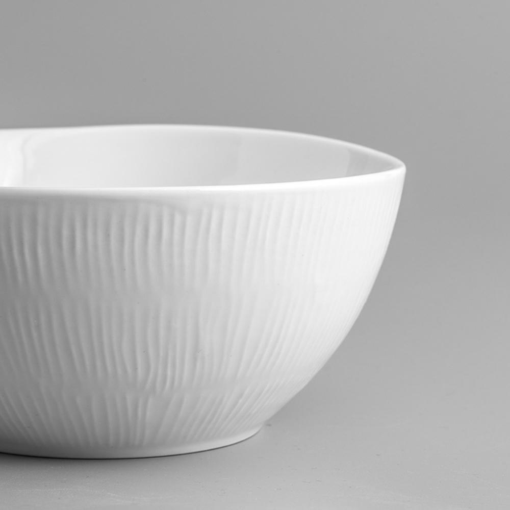 WAGA|日式 淨白線雕 16cm 陶瓷圓碗|單品