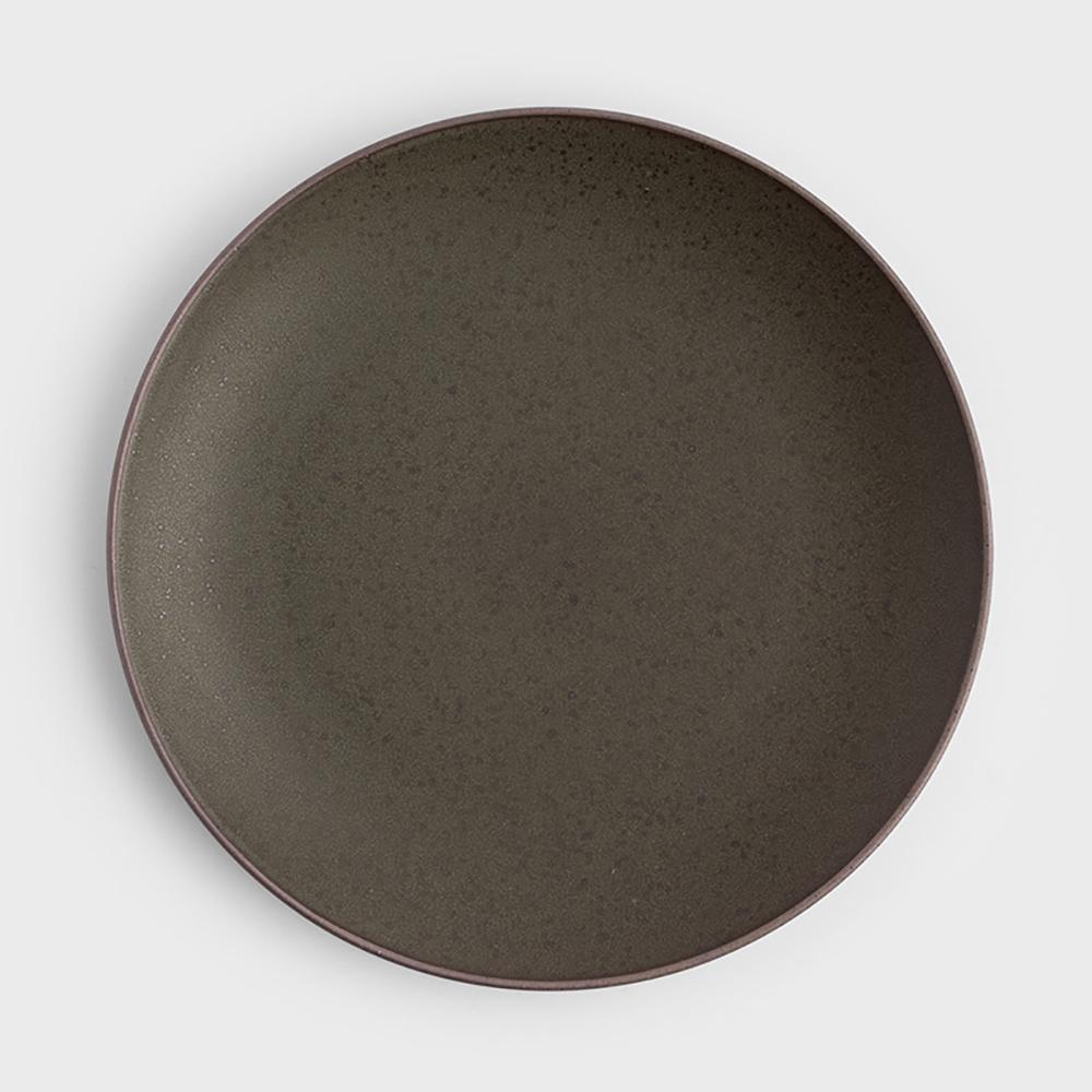WAGA|日式 柴燒手作 22cm 陶瓷淺盤|軍綠|單品