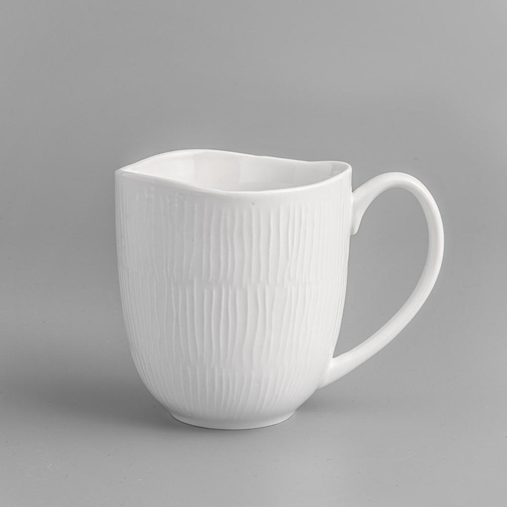 WAGA 日式淨白線雕陶瓷馬克杯(300ml)