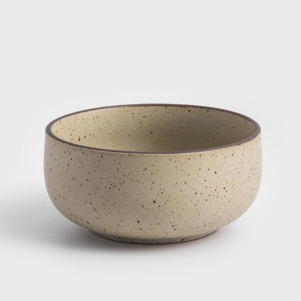 WAGA|日式 柴燒手作 10cm 陶瓷圓碗|米黃|單品