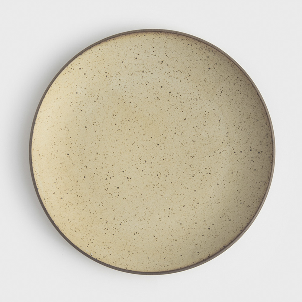 WAGA|日式 柴燒手作 22cm 陶瓷淺盤|米黃|單品