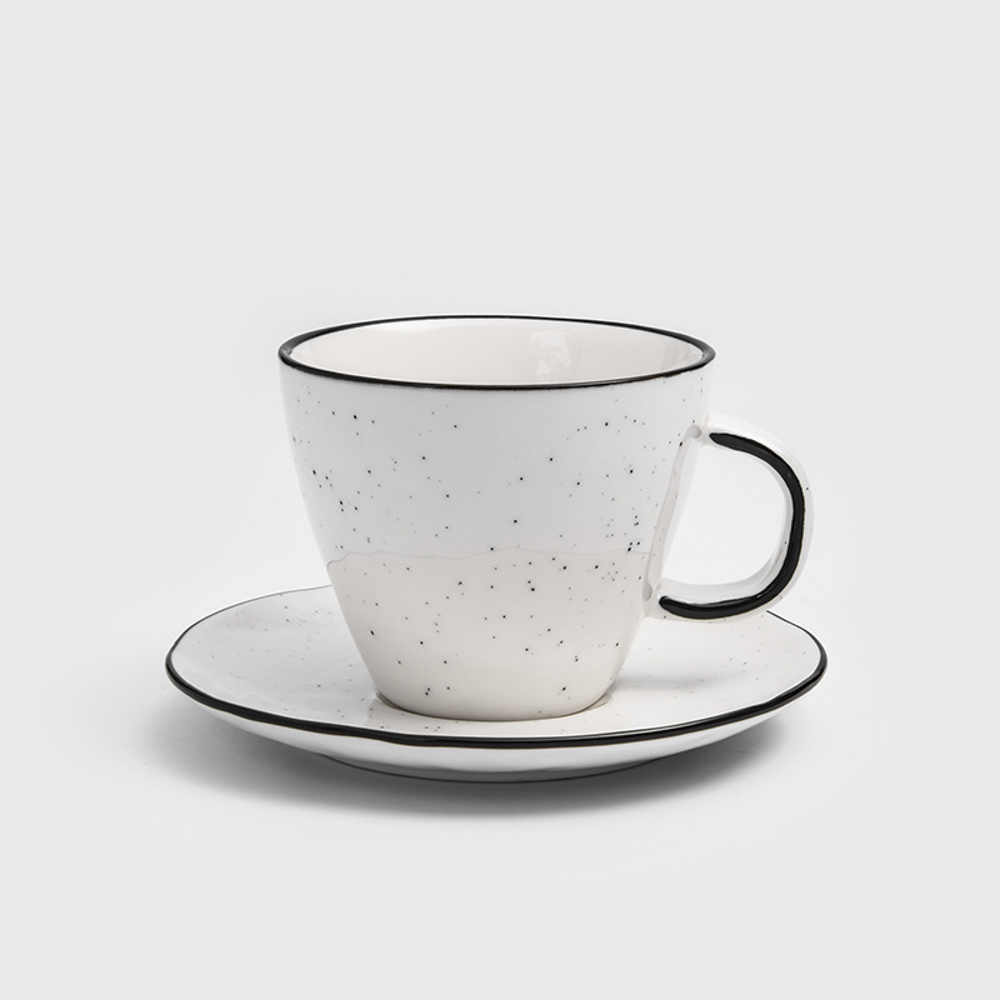 WAGA|日式 墨灑釉燒 250ml 陶瓷杯碟組 │單品