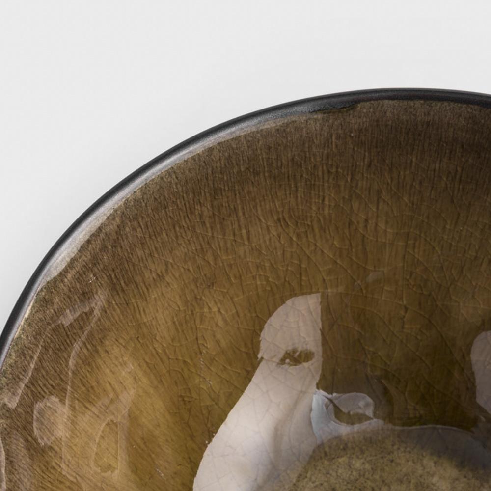 WAGA|歐式 冰裂手捻 16cm 陶瓷圓碗|焦黃|單品