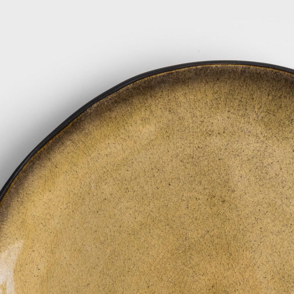 WAGA|歐式 冰裂手捻 27m 陶瓷圓盤|焦黃|單品