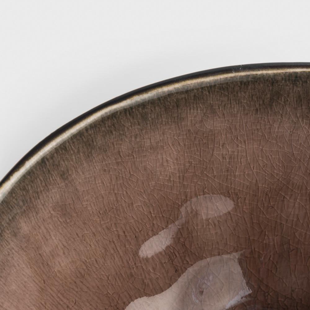 WAGA|歐式 冰裂手捻 16.5cm 陶瓷圓碗|赤褐|單品