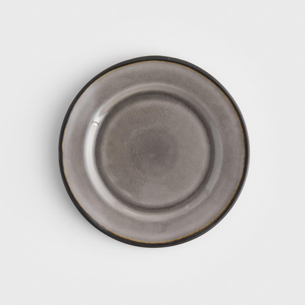 WAGA|歐式 冰裂手捻 21.5cm 陶瓷圓盤|黑灰|單品