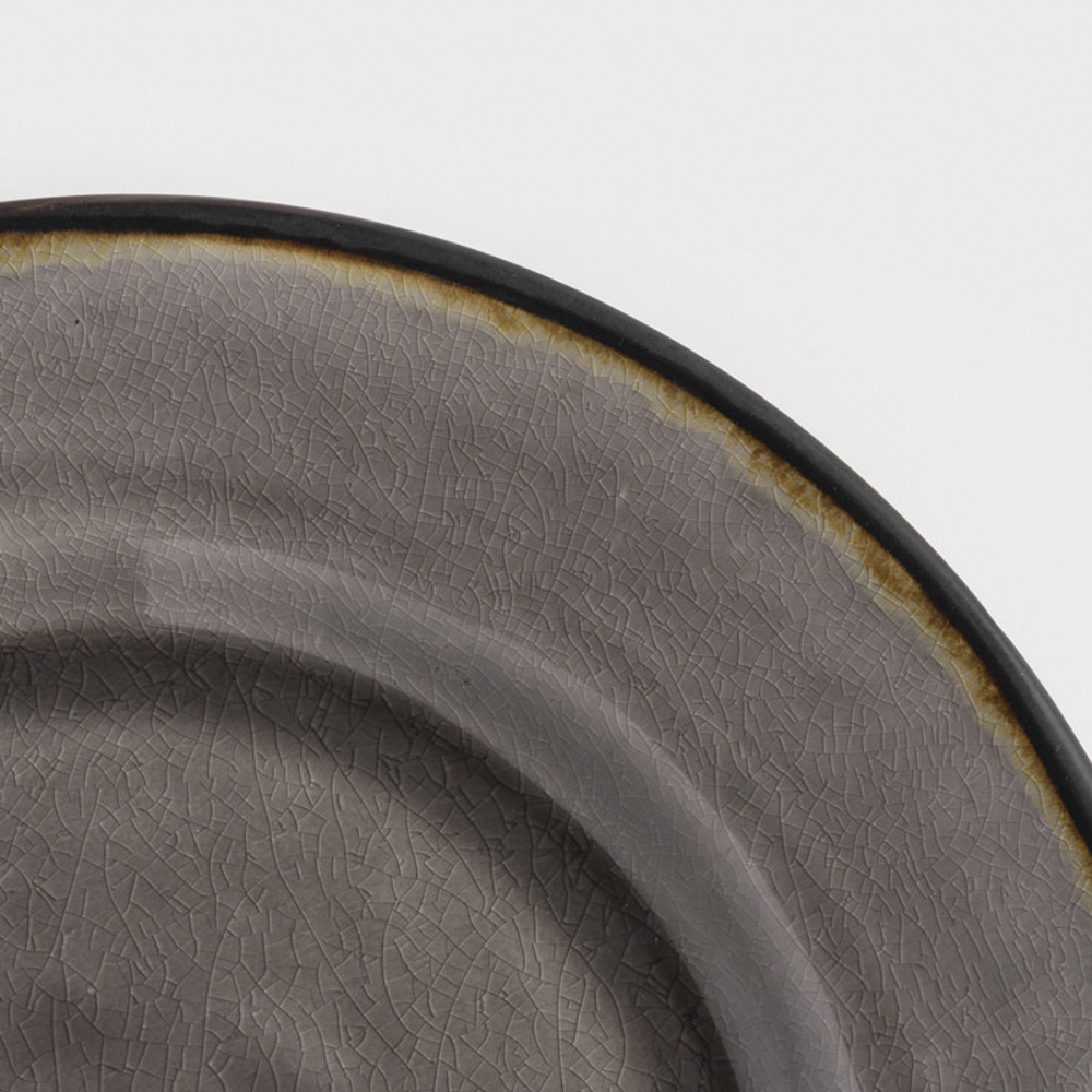 WAGA|歐式 冰裂手捻 28cm 陶瓷圓盤|黑灰|單品
