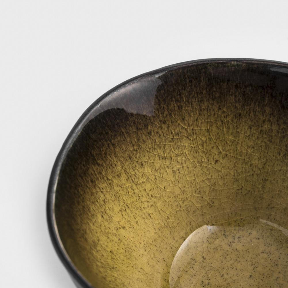 WAGA|歐式 冰裂手捻 7.8cm 陶瓷小碟|焦黃|單品