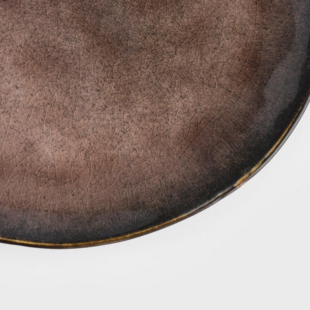 WAGA|歐式 冰裂手捻 20cm 陶瓷橢圓盤|赤褐|單品