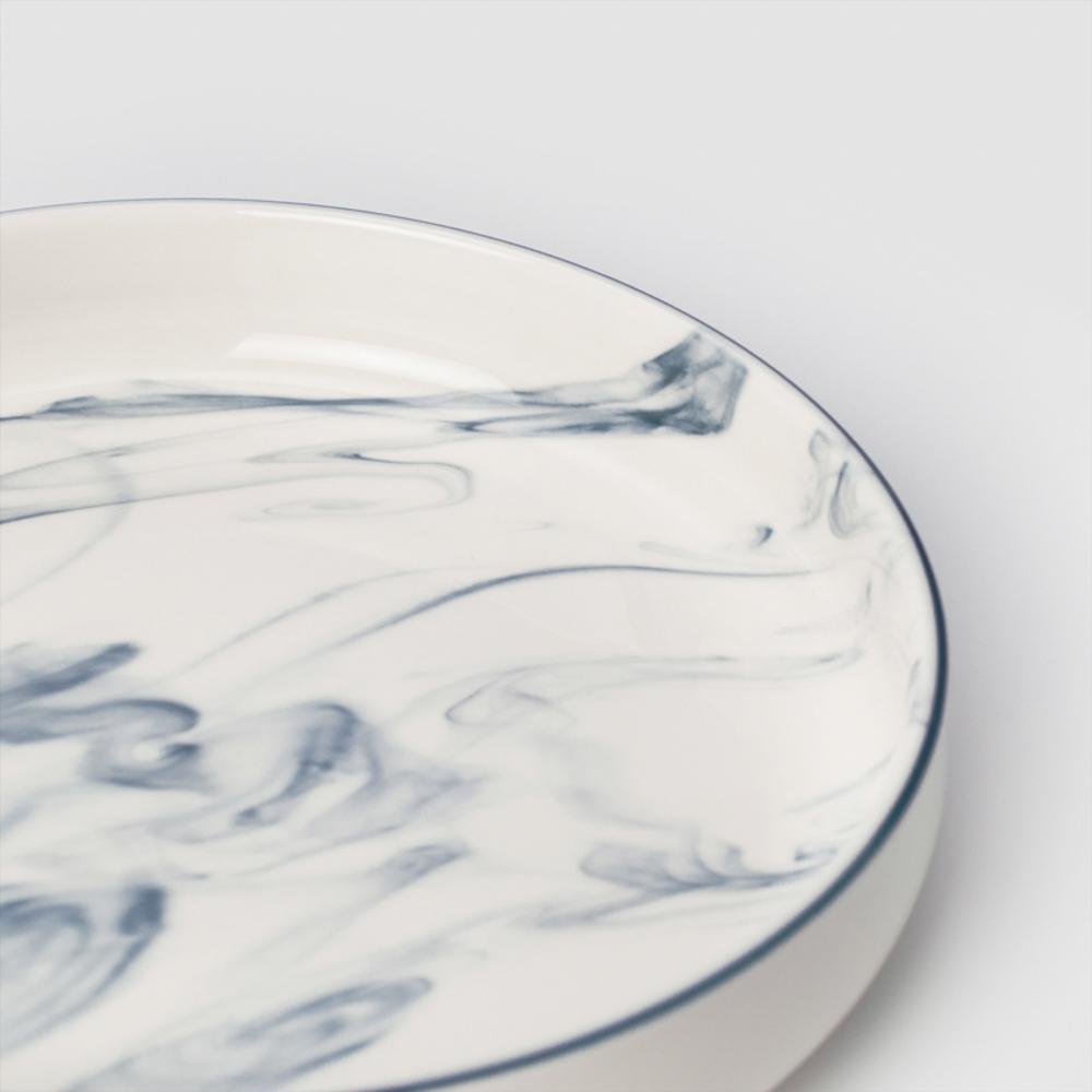 WAGA|歐式 時尚大理石雲紋 21cm 釉下彩西式陶瓷深盤|單品