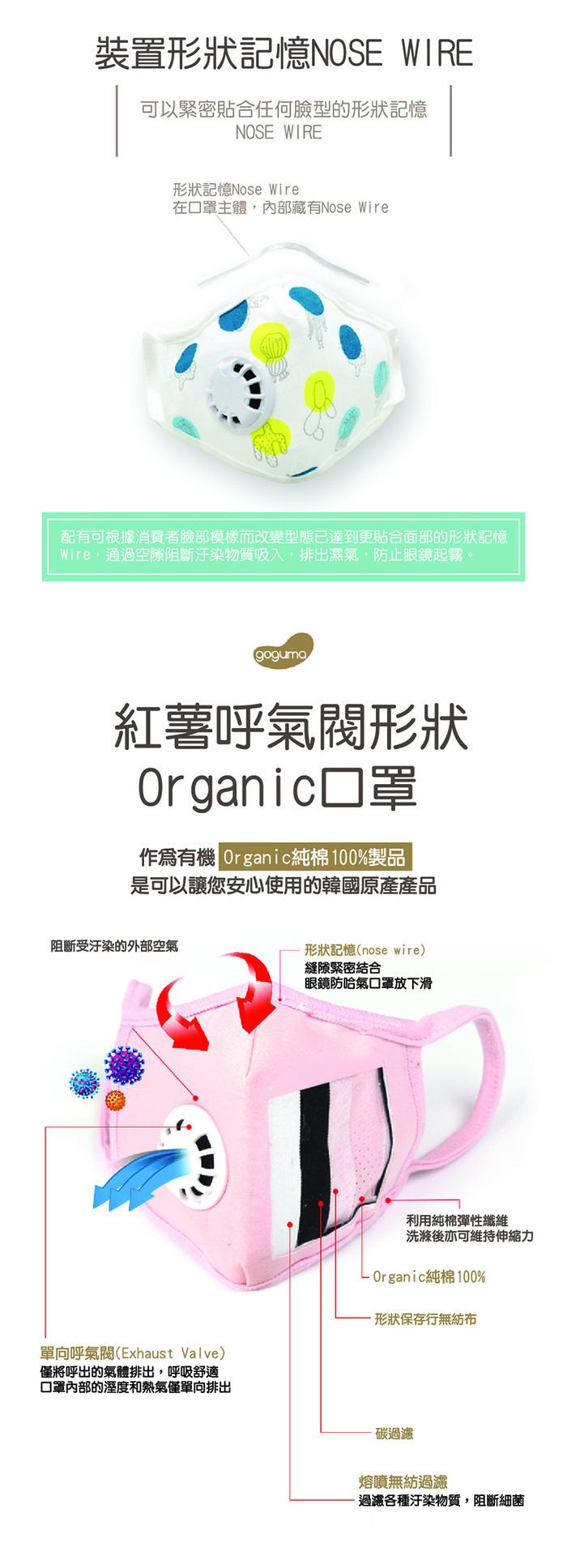 韓國goguma|多重防護奈米呼氣閥口罩-紅白條紋(L)