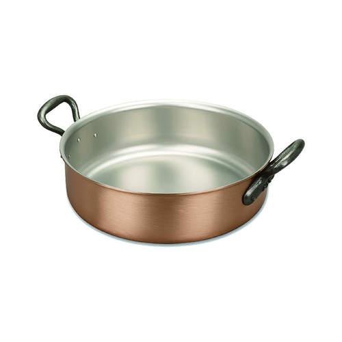 比利時FALK|紅銅料理淺鍋24cm(含鍋蓋)-經典款(烤盤/壽喜燒鍋/平底炒鍋)
