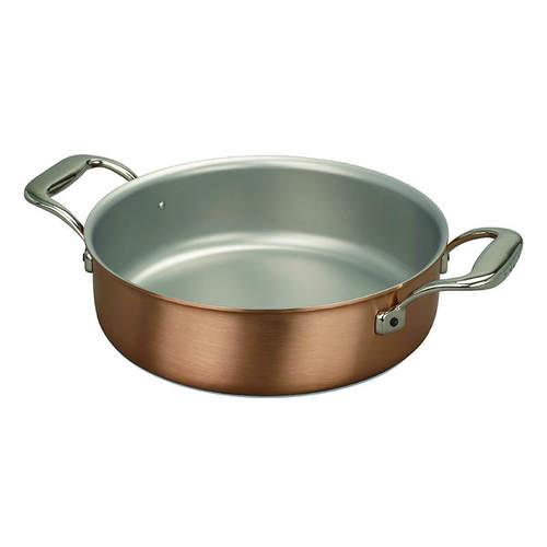 比利時FALK 紅銅料理淺鍋24cm(含鍋蓋)-時尚款(烤盤/壽喜燒鍋/平底炒鍋)