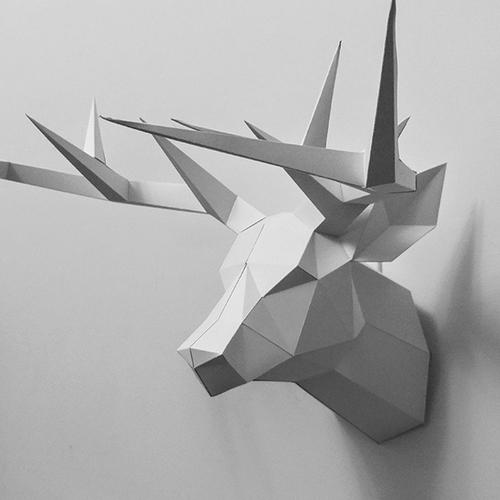 匠紙 3D紙模型DIY Kits手作組合-極簡鹿頭壁飾