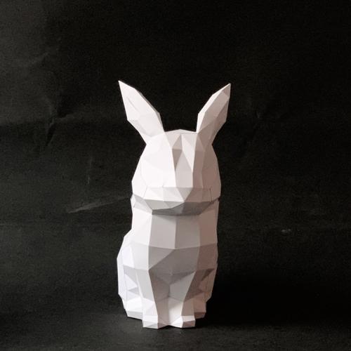 匠紙|蹲坐兔(擺飾paper sculpture)