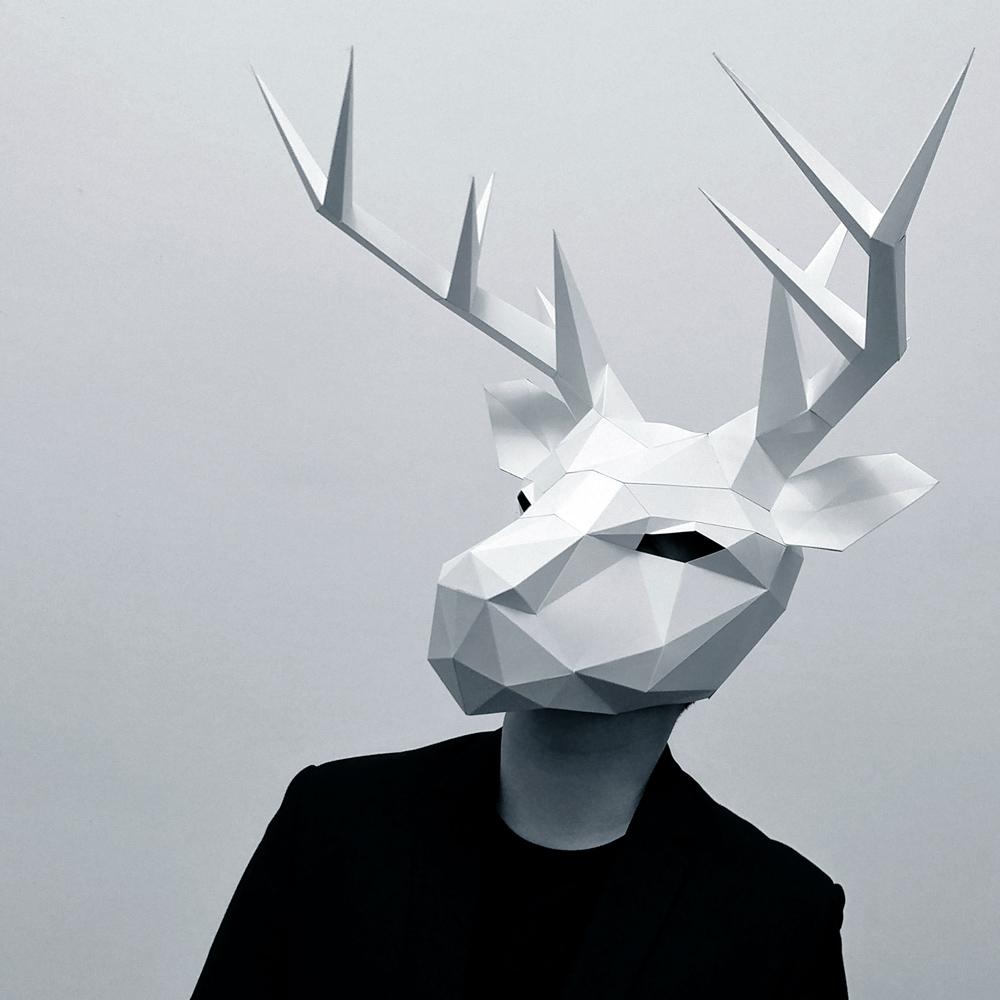 匠紙|極簡鹿頭(面具mask)