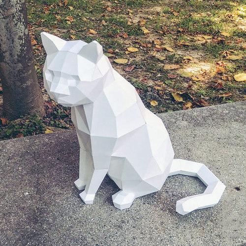 匠紙|坐貓A(擺飾paper sculpture)