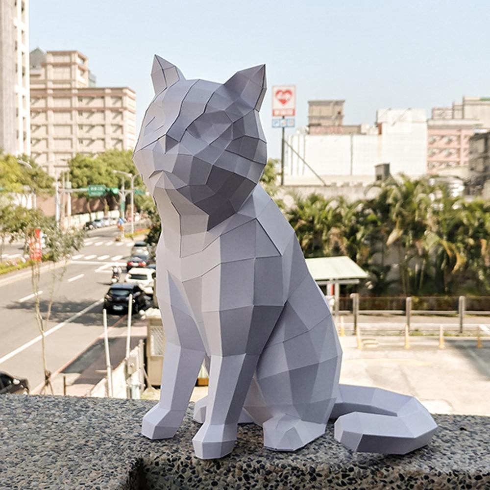 匠紙|坐貓B(擺飾paper sculpture)