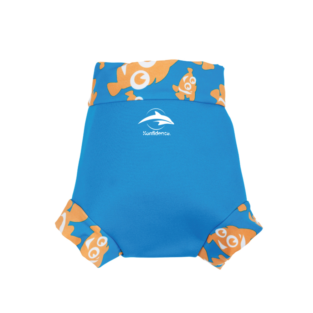 康飛登 Konfidence|嬰幼兒游泳專用外層加強防漏尿布褲 水藍/小丑魚