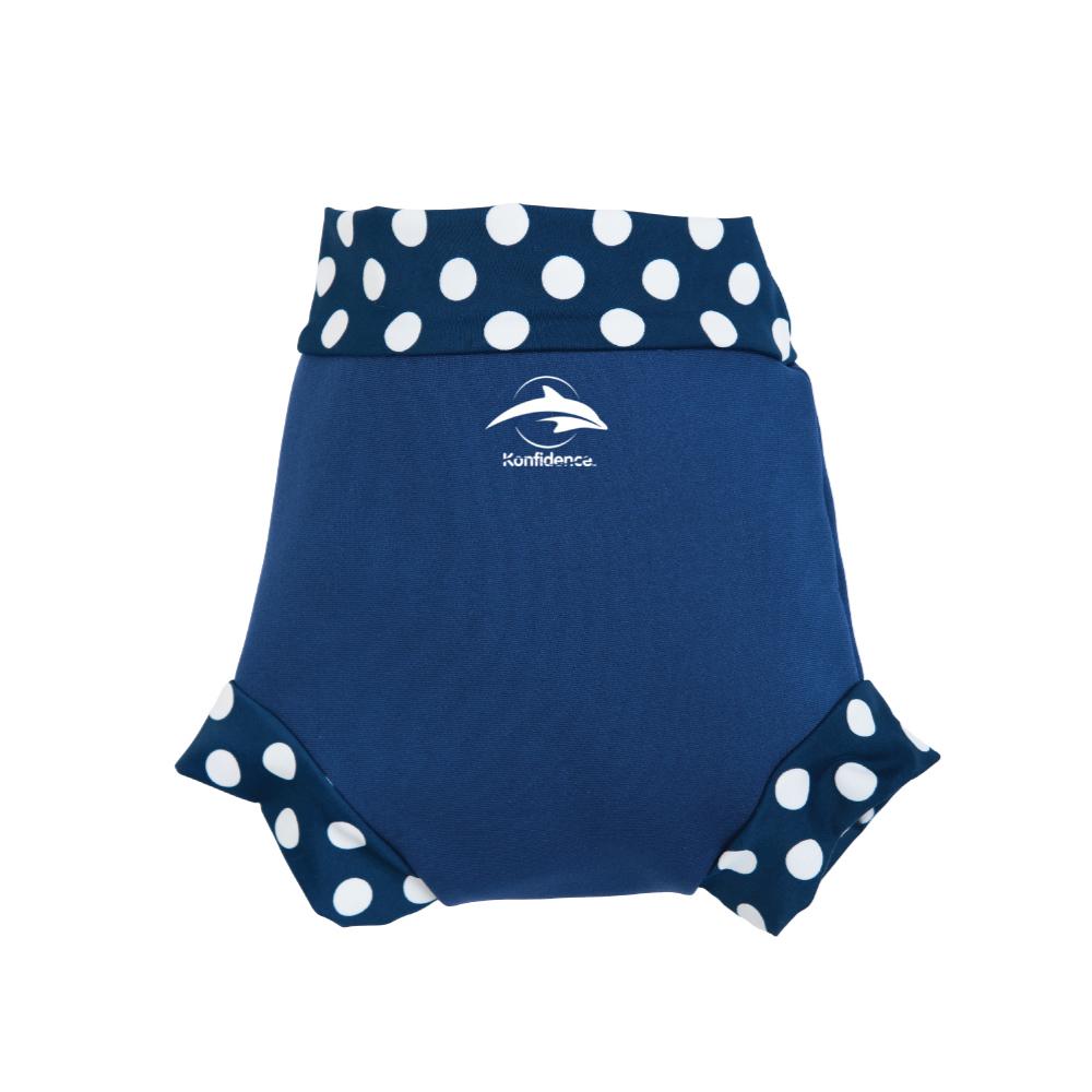 康飛登 Konfidence|嬰幼兒游泳專用外層加強防漏尿布褲 海軍藍/點點