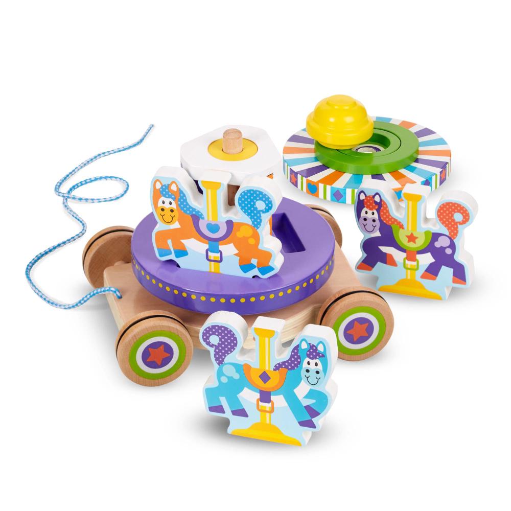 美國瑪莉莎 Melissa & Doug   幼兒啟發 - 旋轉木馬拉繩拖車