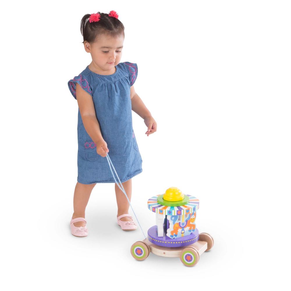 美國瑪莉莎 Melissa & Doug | 幼兒啟發 - 旋轉木馬拉繩拖車
