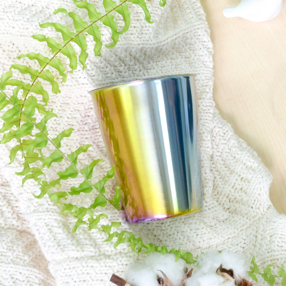 TiANN鈦安|純鈦雙層(極光)咖啡杯 330ml 贈杯蓋
