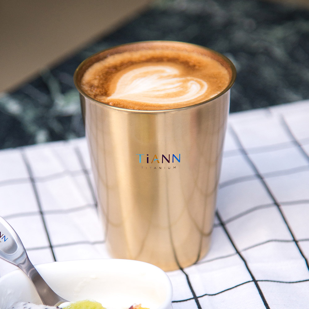 TiANN鈦安|純鈦雙層(金色)咖啡杯 330ml 贈杯蓋