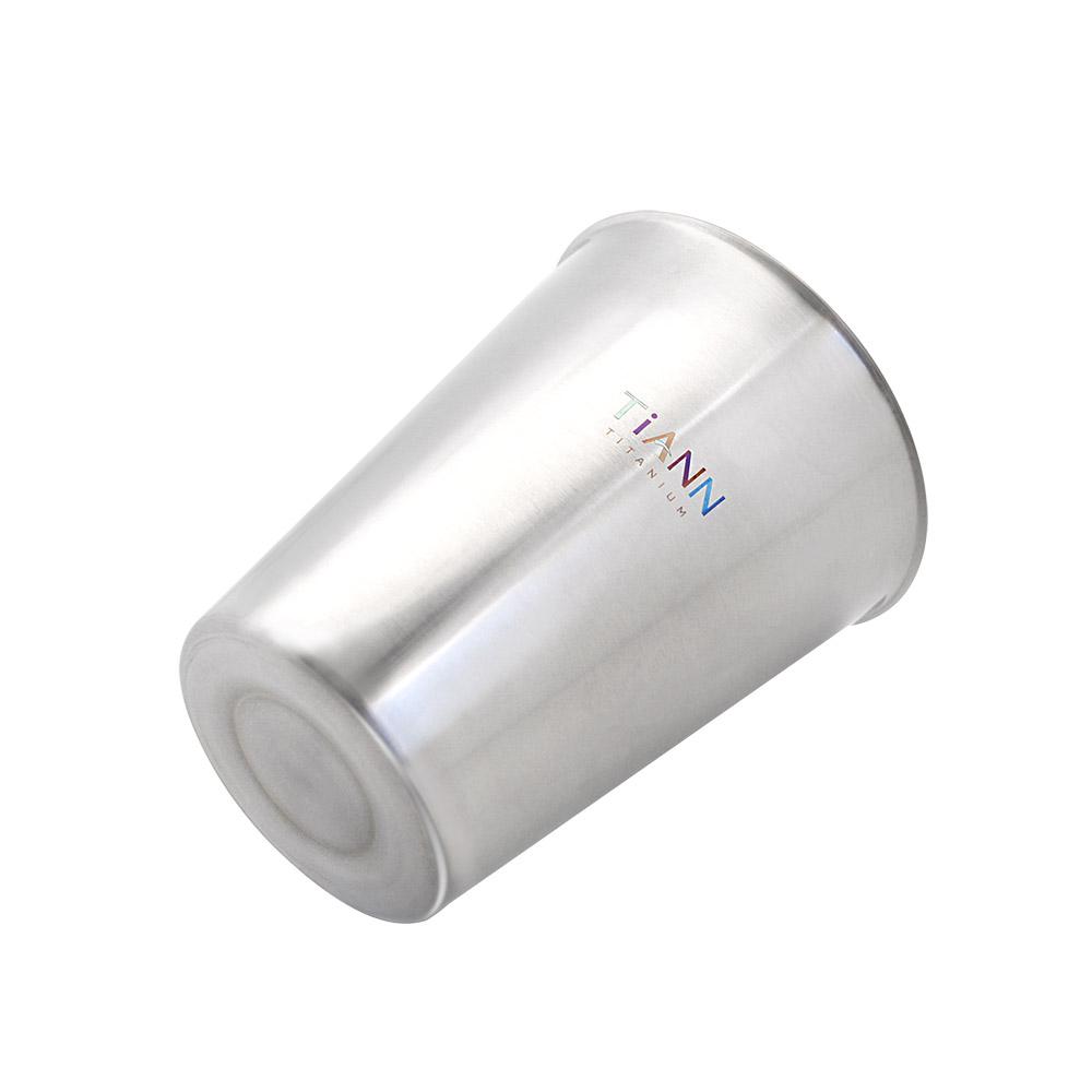 TiANN鈦安|純鈦雙層(原色)咖啡杯 330ml 贈杯蓋