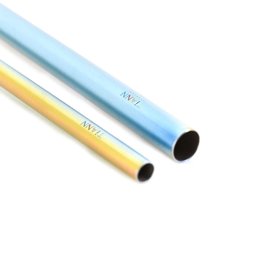 TiANN鈦安|鈦吸管 純鈦 斜口吸管 粗+細套組 素面極光款 (8+12mm)