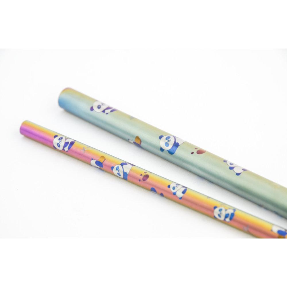 TiANN鈦安|鈦吸管 純鈦 斜口吸管 粗+細套組 環保愛地球 熊貓款 (8+12mm)