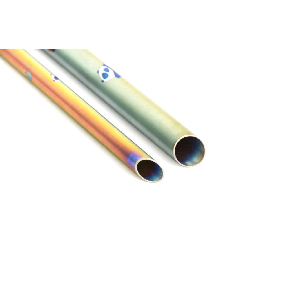 TiANN鈦安 鈦吸管 純鈦 斜口吸管 粗+細套組 環保愛地球 熊貓款 (8+12mm)