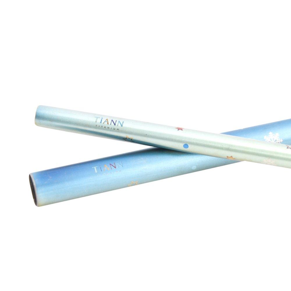 TiANN鈦安|鈦吸管 純鈦 斜口吸管 粗+細套組 環保愛地球 雪花款 (8+12mm)