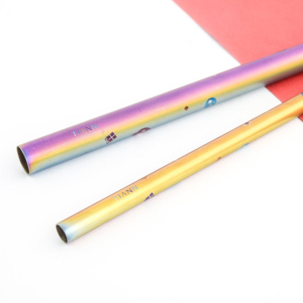 TiANN鈦安 鈦吸管 純鈦 斜口吸管 粗+細套組 環保愛地球 禮物款 (8+12mm)