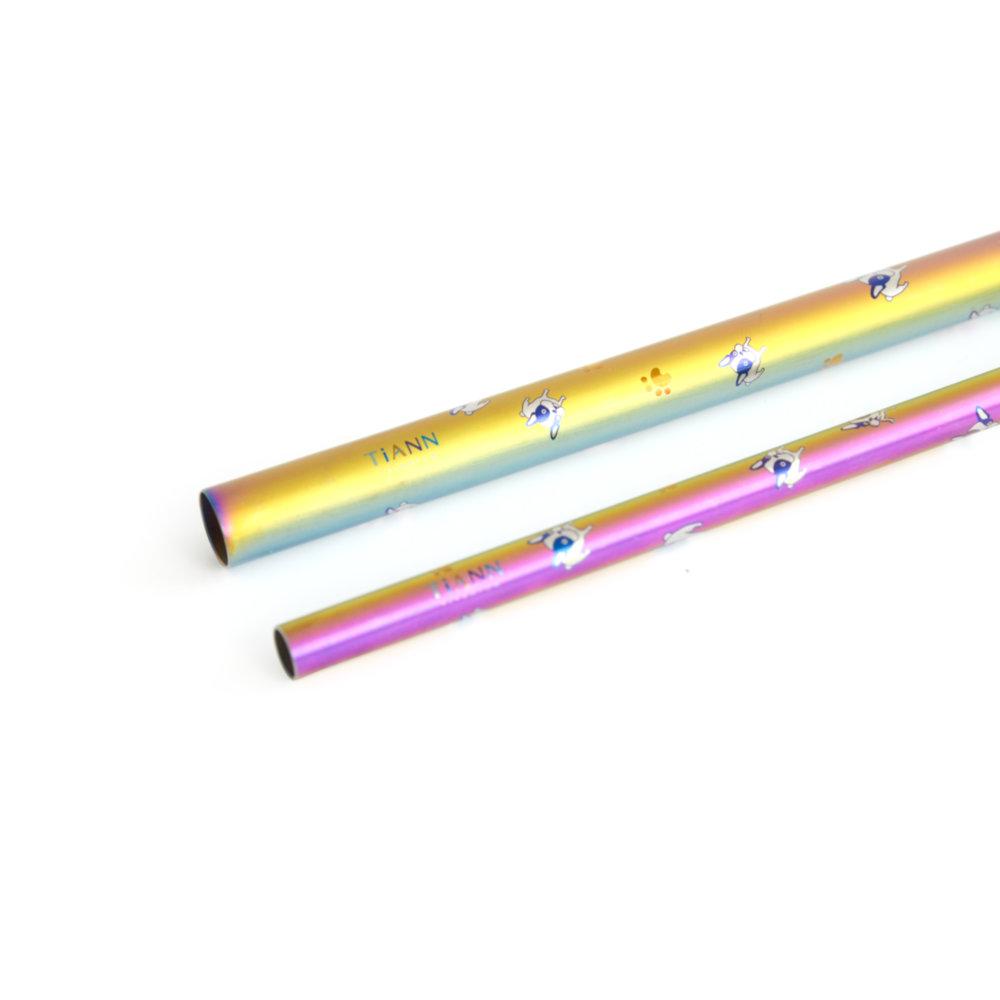 TiANN鈦安|鈦吸管 純鈦 斜口吸管 粗+細套組 法鬥愛地球 (8+12mm)