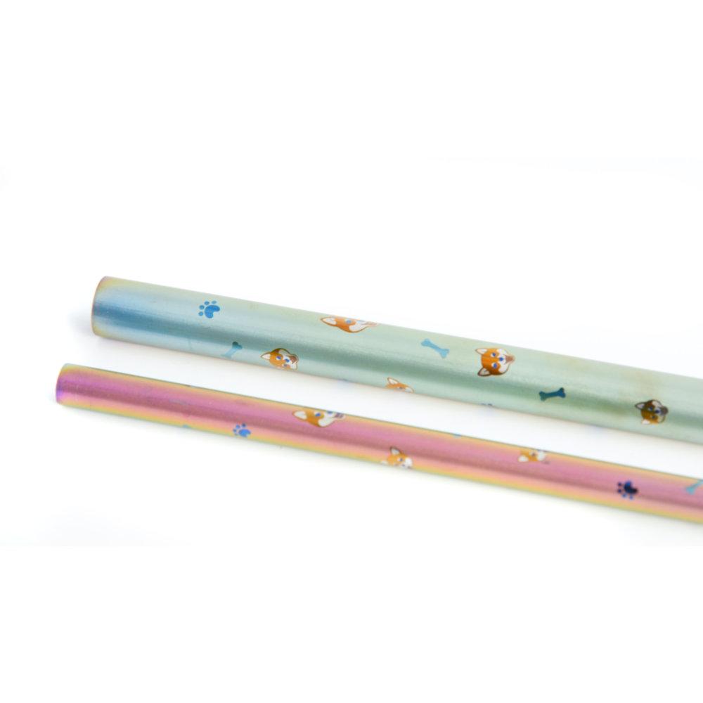 TiANN鈦安|鈦吸管 純鈦 斜口吸管 粗+細套組 柴犬愛地球 (8+12mm)