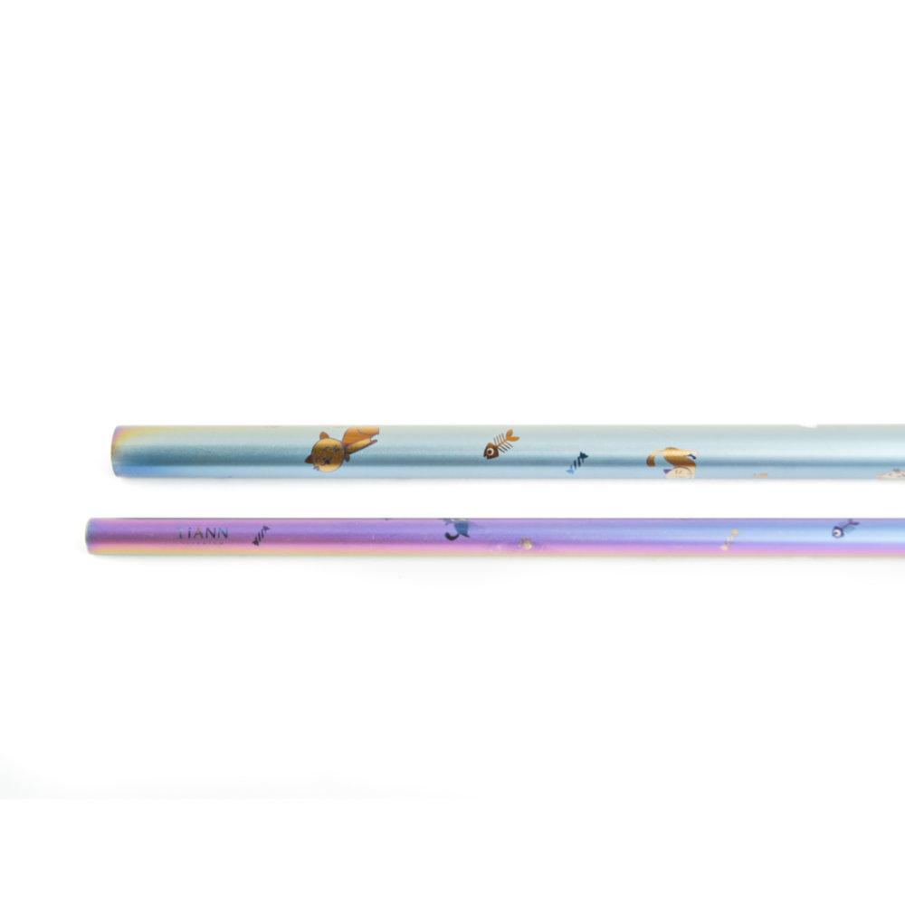 TiANN鈦安 鈦吸管 純鈦 斜口吸管 粗+細套組 俏皮貓愛地球 (8+12mm)