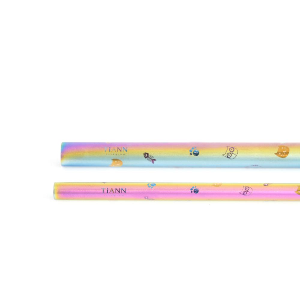 TiANN鈦安|鈦吸管 純鈦 斜口吸管 粗+細套組 博士貓愛地球 (8+12mm)