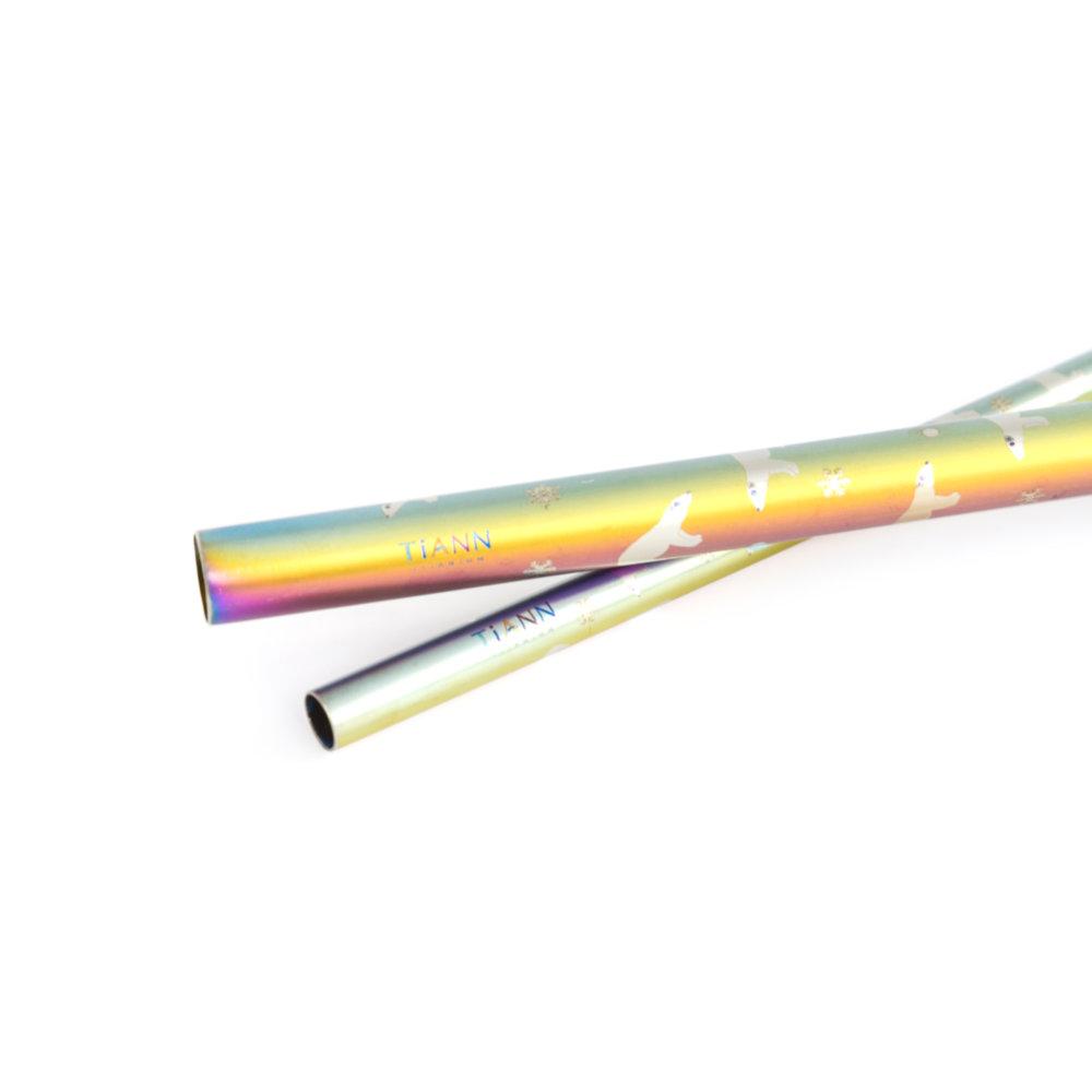 TiANN鈦安|鈦吸管 純鈦 斜口吸管 粗+細套組 北極熊愛地球 (8+12mm)