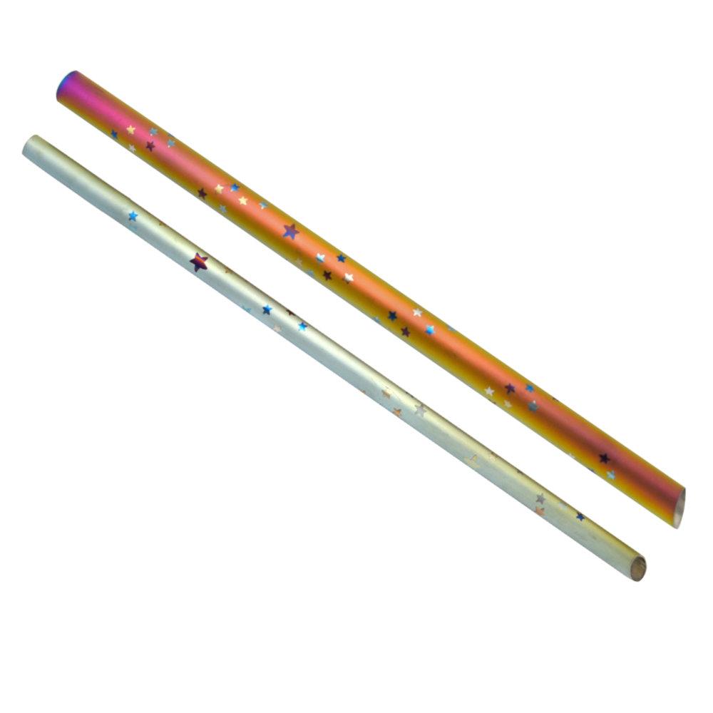 TiANN鈦安|鈦吸管 純鈦 斜口吸管 粗+細套組 環保愛地球 星星款 (8+12mm)