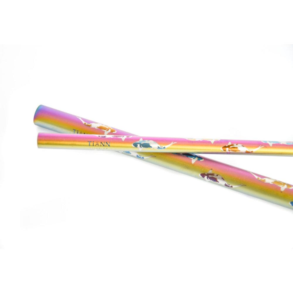 TiANN鈦安|鈦吸管 純鈦 斜口吸管 粗+細套組 環保愛地球 鯉魚款 (8+12mm)